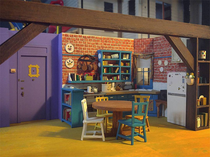 "I Built A Tiny Model Of Monica's Kitchen From ""Friends"" (11 Pics)"