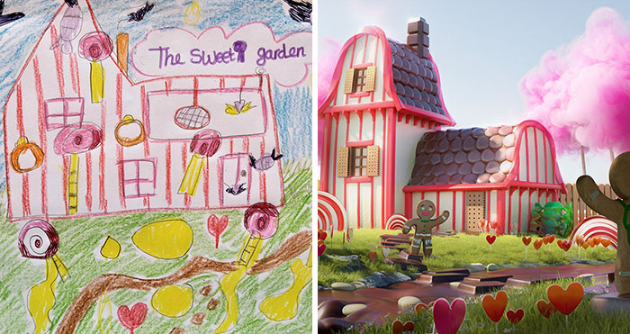 8 Kids Draw Their Own Version Of A Dream Garden, And 3D Artists Take It And Make It Real
