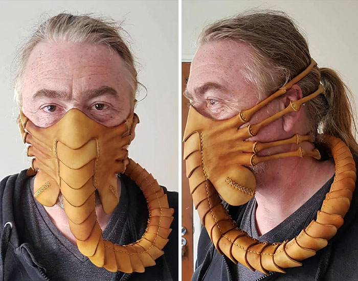 To Protect Himself From The Coronavirus, Artist Crafts A 59-Piece Leather Mask In The Shape Of A Facehugger