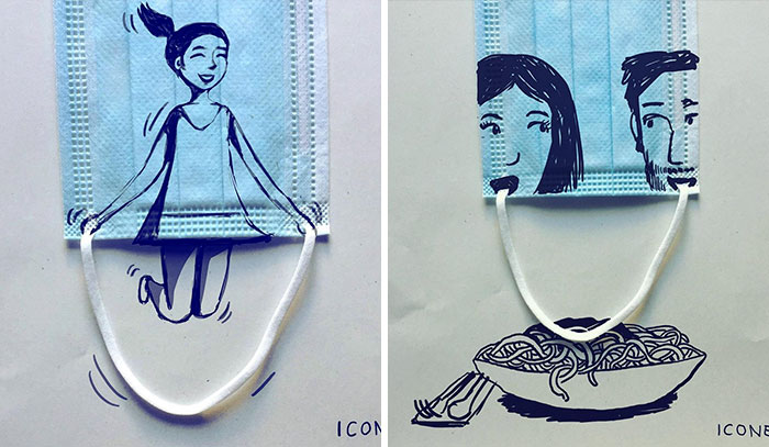 This German Artist Turns Face Coverings Into Art And Here Are 16 Of The Most Creative Ones