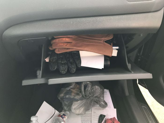 16 Years Of Writing Service And It Finally Happened. Gloves In A Glovebox