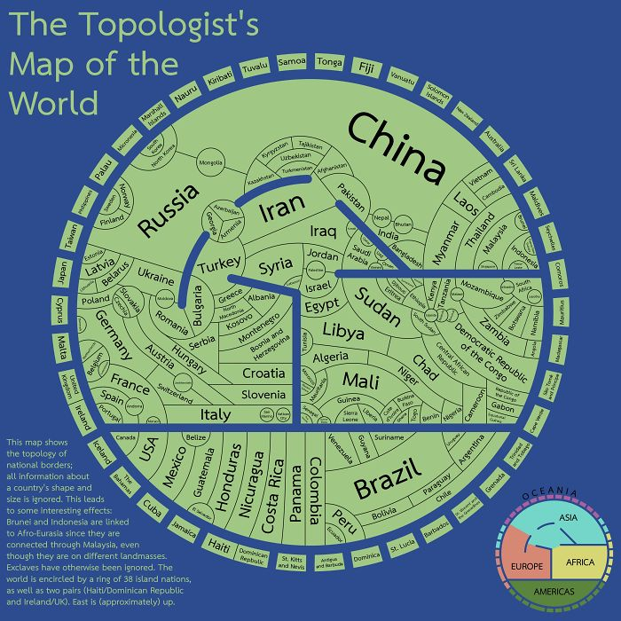 The Topologist's Map Of The World - A Map Showing International Borders, And Nothing Else
