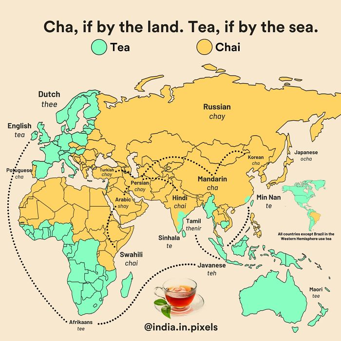 """The Countries That Got Tea Via China Through The Silk Road (Land) Referred To It In Various Forms Of The Word """"Cha"""". On The Other Hand, The Countries That Traded With China Via Sea - Through The Min Tan Port Called It In Different Forms Of """"Te"""""""