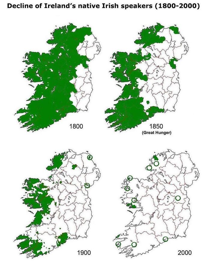 The Decline Of Our Native Tongue Over The Last 2 Centuries, I Find The Maps Rather Than The Reciting Of Statistics, Gives A Far Better Impression On The Overall Erosion Of One Of The Biggest Aspects Of Our Culture, Irish Itself
