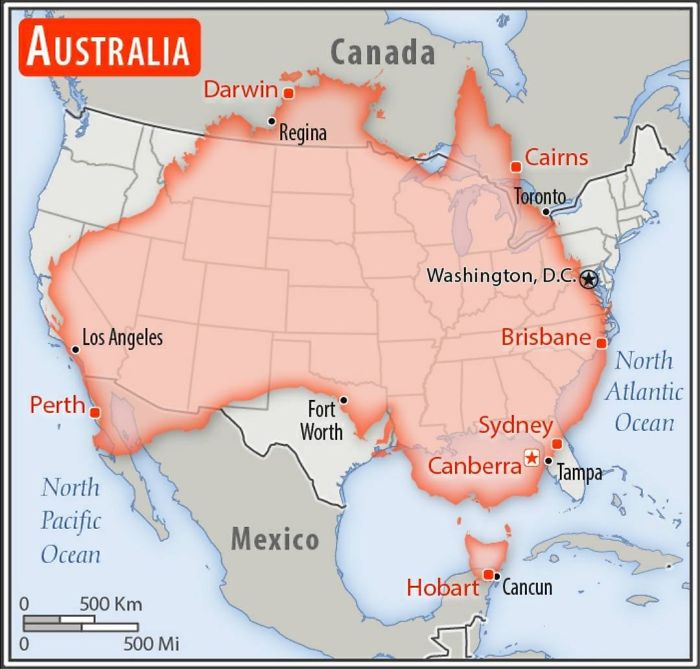 Size Comparison Between Australia And The United States