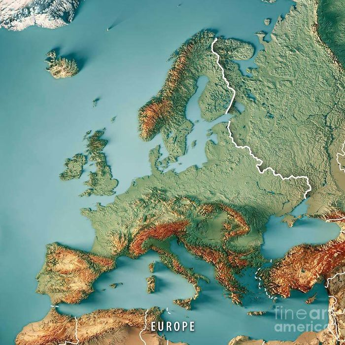 3D Render Topographic Map Of Europe