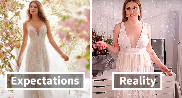 Woman Orders 10 Wedding Dresses From The Wish App, Shows The Expectations Vs. Reality