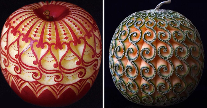 Artist Creates Beautiful Patterns On Fruits And Vegetables By Hand-Carving Intricate Designs