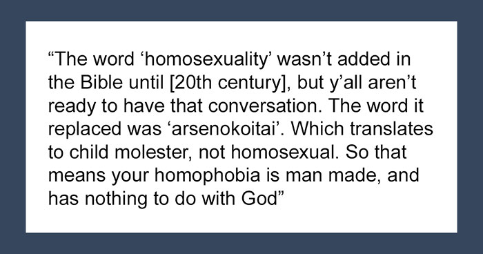 People On Social Media Point Out That The Bible Was Translated Wrong And Didn't Say Anything About Homosexuality