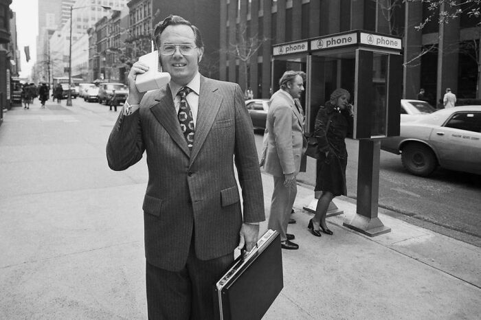 Motorola Vice President John F. Mitchell Showing Off The Dynatac Portable Radio Telephone In New York City In 1973