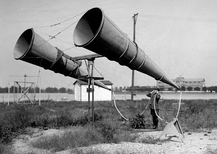 Using A Two-Horn Listening Device At Bolling Field In Washington, D.c., In 1921 Before The Invention Of Radar, To Listen For Distant Aircraft