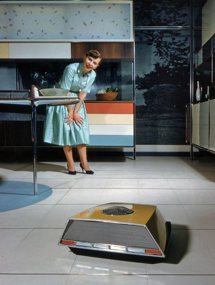 Robo-Vac, A Self-Proppeled Vacuum Cleaner Part Of Whirlpool's Miracle Kitchen Of The Future, A Display At The 1959 American National Exhibition In Moscow, 1959