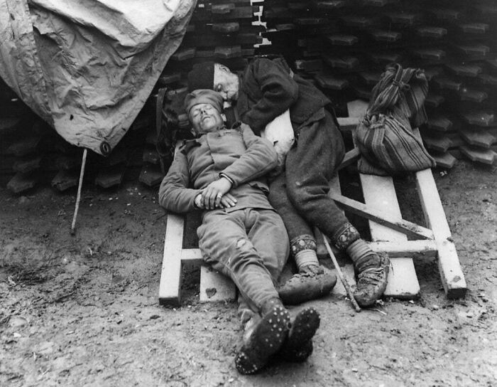 A Serbian Soldier Sleeps With His Father Who Came To Visit Him On The Front Line Near Belgrade, 1914/1915
