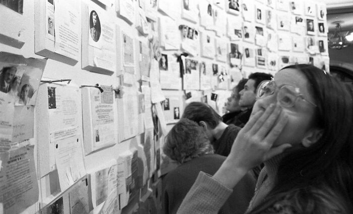 """Soviet Citizens Look At The """"Wall Of Sorrow"""", Honoring The Hundreds Of Thousands Of People Killed By Stalinism. In 1988, The Soviet Government Allowed Information Regarding The Victims Of Stalin's Great Purge To Become Public"""