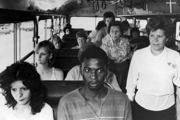 A Man Rides A Bus In Durban, Meant For White Passengers Only, In Resistance To South Africa's Apartheid Policies, 1986