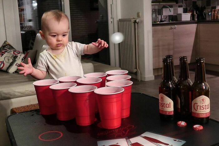 Playing Beer Pong With My Dad Today