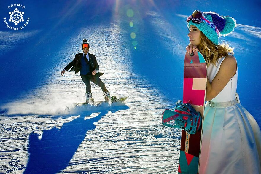 Snowboarding Couple In This Sweet Picture By Tamara Hevia