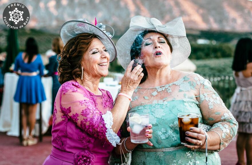 Elegant Ladies Smoking A Cigar During The Wedding In This Picture By Marta Monés