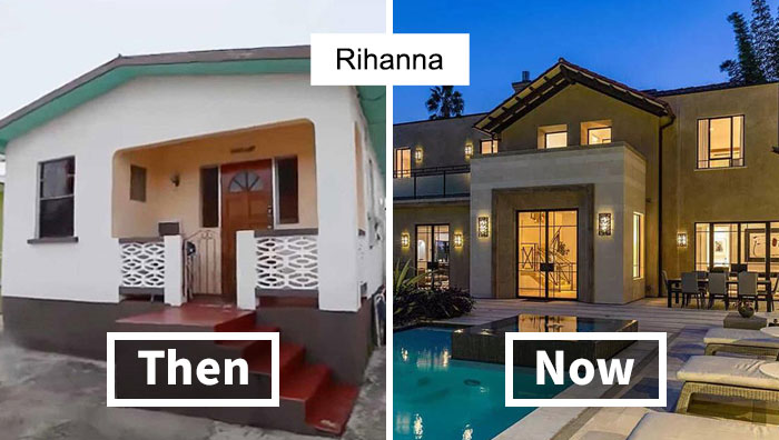 Side-By-Side Photos Of 15 Celebrity Houses Before And After Their Fame