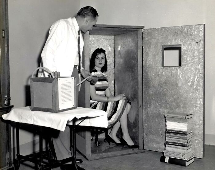 """Orgone Accumulator, A Device Sold In The 1950s To Allow A Person Sitting Inside To Attract Orgone, A Massless 'Healing Energy'. The Fda Noted That One Purchaser, A College Professor, Knew It Was """"Phony"""" But Found It """"Helpful Because His Wife Sat Quietly In It For Four Hours Every Day."""""""