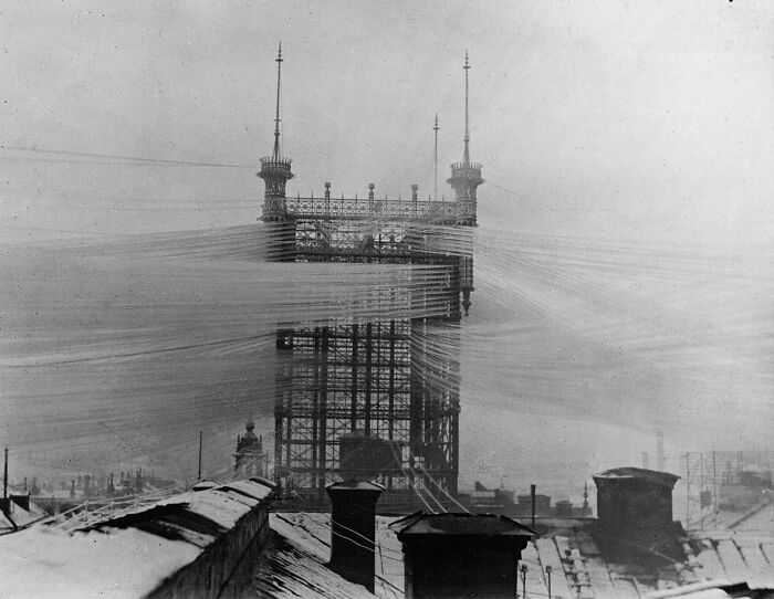 """The Old """"Telefontornet"""" Telephone Tower In Stockholm, Sweden, With Approximately 5,500 Telephone Lines C. 1890"""