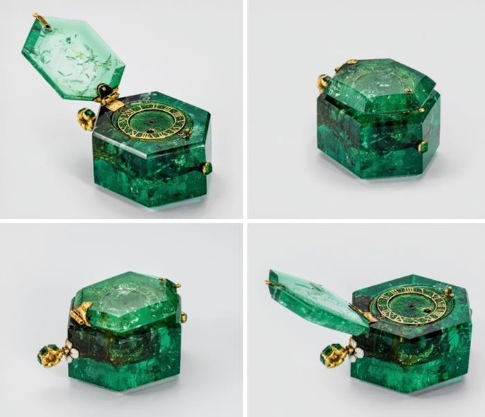 350 Year Old Pocket Watch Carved From A Single Colombian Emerald