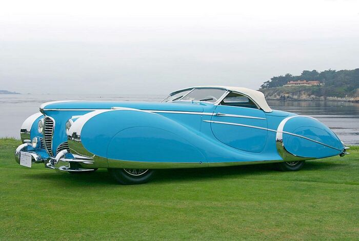 This Car Is A French 'Delahaye 175s Roadster', Introduced At The Paris Motor Show In 1949. Only One Was Ever Made. It Was Recently Sold At Auction For Around Five Million Dollars.