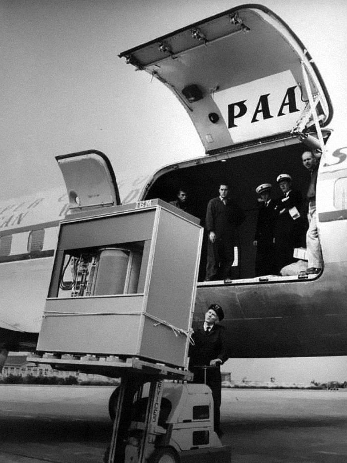 A 5mb Hard Disk Drive Being Loaded Onto A Plane, In 1956