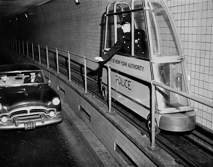 In 1955, This Tiny Electric Narrow Gauge Train Was Installed In New York's Holland Tunnel To Monitor Traffic Speed