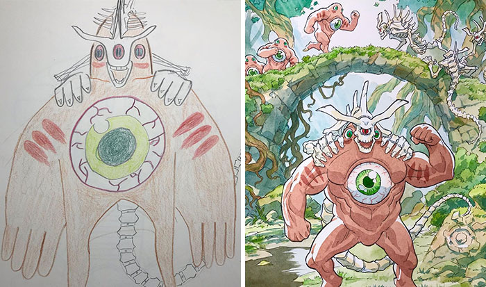 Dad Turns His Sons' Doodles Into Anime Characters, And The Result Is Amazing (12 New Pics)