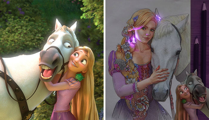 This Artist's Drawings Of Cartoon Princesses And Their Pets Look Like They're Glowing (7 Pics)
