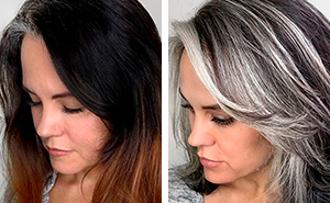 Instead Of Covering Grey Roots, This Hair Colorist Makes Clients Embrace It (30 New Pics)