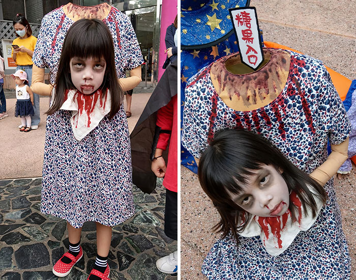 This Little Girl's Headless Halloween Costume Was So Terrifying, It Scared Away Other Kids