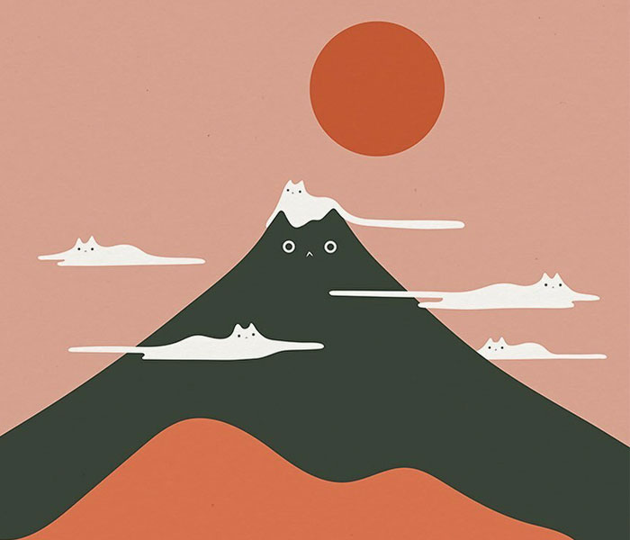 My 30 Minimal Illustrations That Blend Cats Into Landscapes And Other Scenes (New Pics)