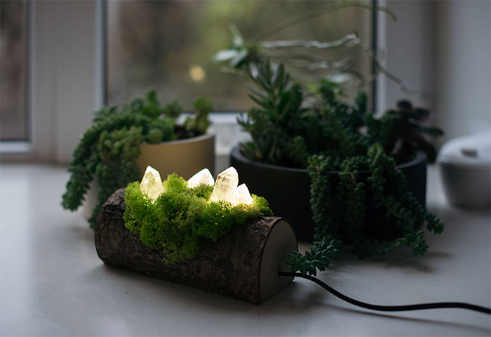 We Craft Unique Night Lamps From Glowing Crystals On Mossy Logs (23 Pics)