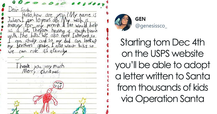 "This Holiday Season, USPS Lets People ""Adopt"" A Letter Written To Santa To Fulfill A Kid's Christmas Wish"