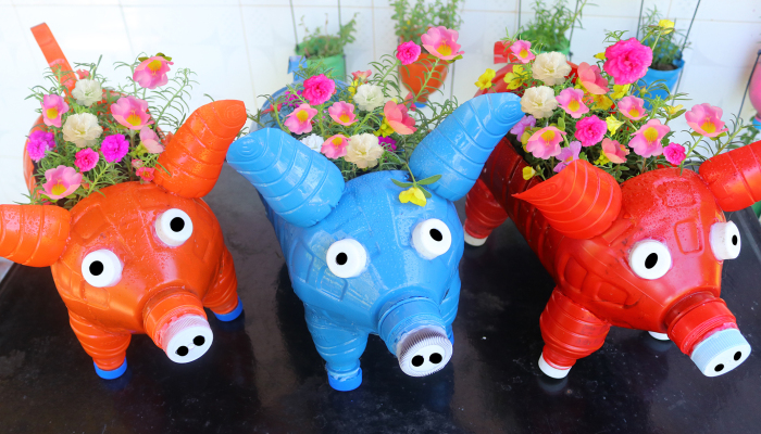 I Remake These Recycle Plastic Bottles Into Cute Pig Shaped Flower Pots