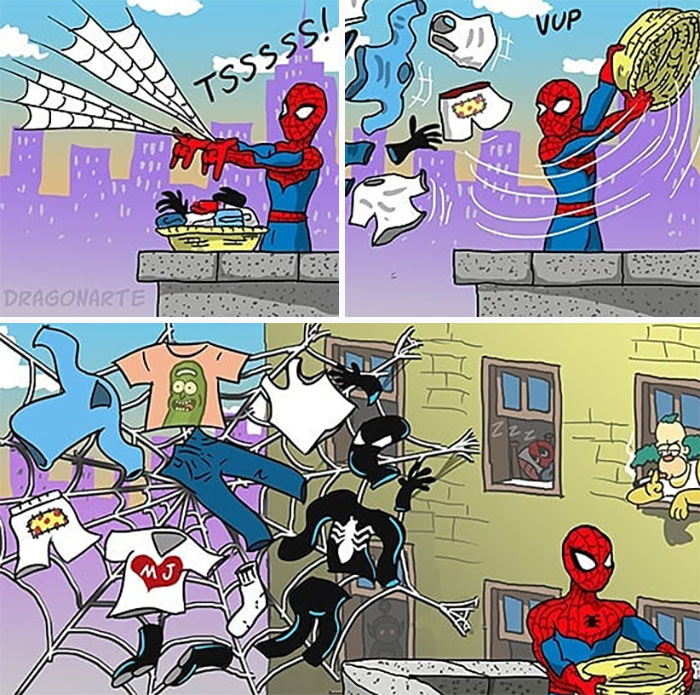 Artist Shows What Superheroes And Other Famous Characters Do When They Are Not Saving The World (30 New Comics)