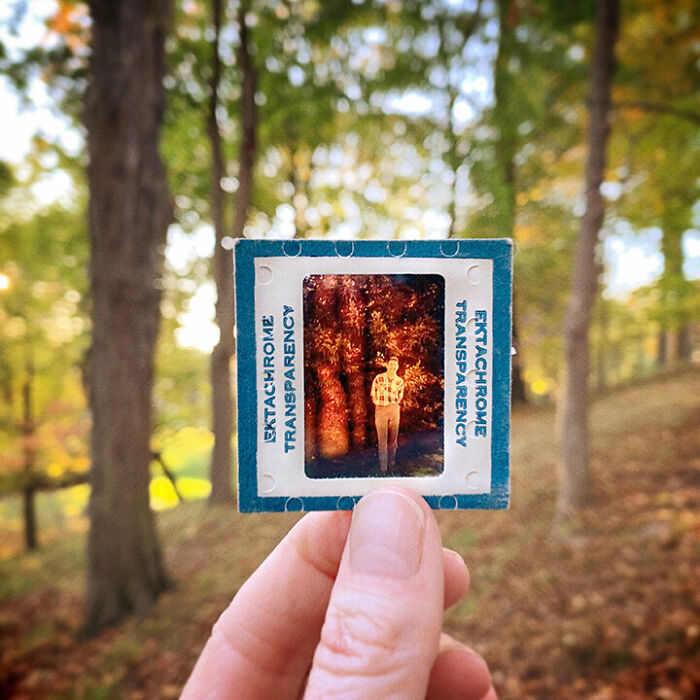 Photographer Shows Slides From The Past On Current Photographs Recording The Feeling Of The Passage Of Time