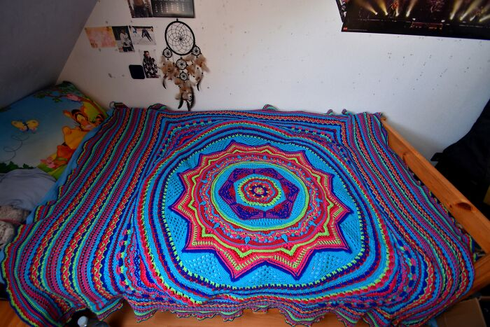 My First Crochet Project That Wasn't A Shawl Or Beanie(I'm Self Thought). Around 7.5km Of Yarn And Measuring 160x200cm. It's Called Sacred Space