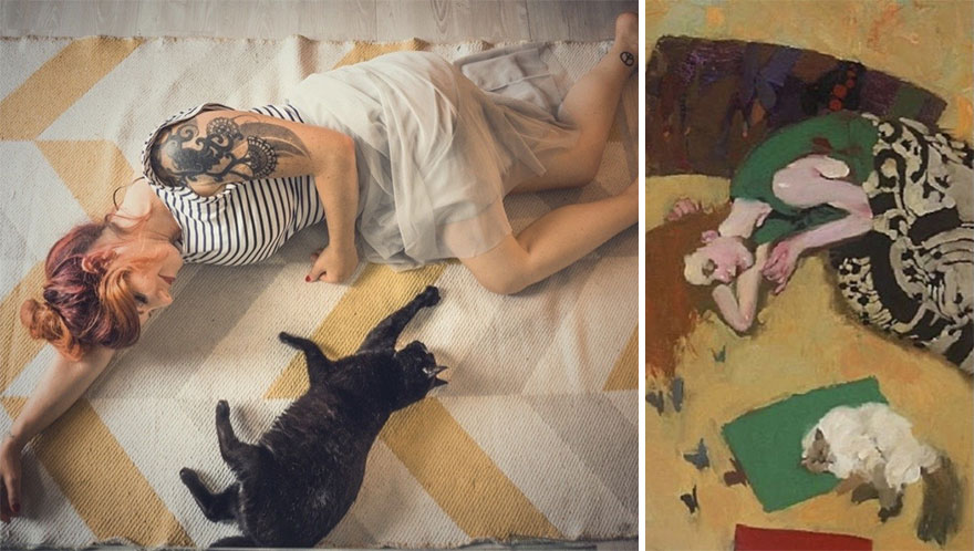 Jenny & Betty. Painting: 'Cats Dream Of Butteflies Too' By Kobayashi