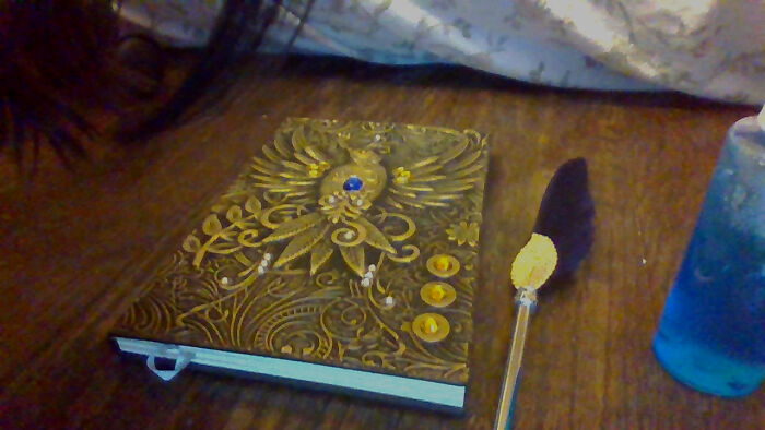 Cool Diary, Feather Quill, And Ocean In A Bottle Made With Crystals I Grew
