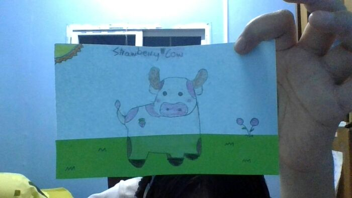 This Is A Derpy Strawberry Cow That I Drew And It Looks Like It Is Sinking Into A Swap