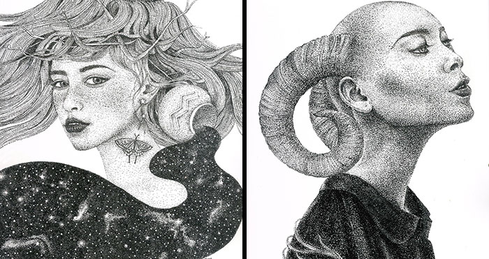 My Zodiac Signs Made As Women Using Only Dots (12 Pics)