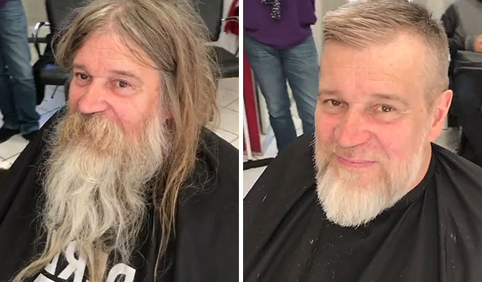 Awesome Barber Transforms This Homeless Man For Free And His Before And After Pics Show Another Man