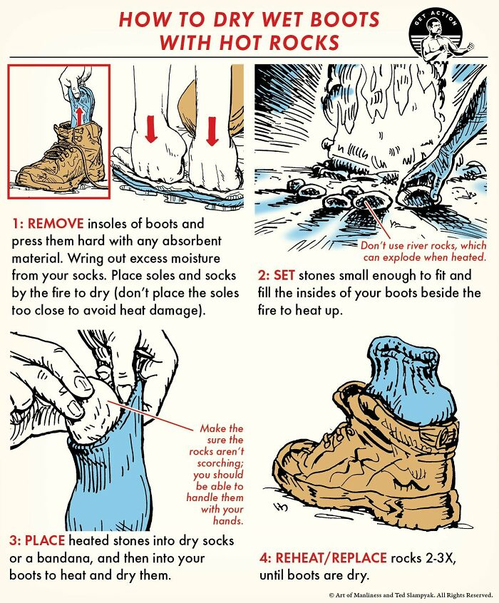 How To Dry Wet Boots With Hot Rocks