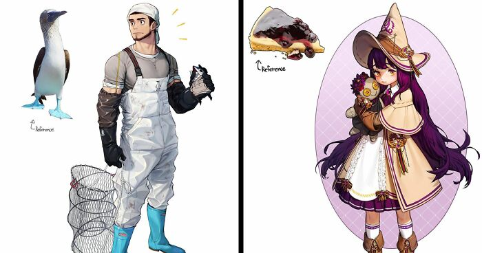 Illustrator Reimagines Animals, Insects, Everyday Objects, And Food As Anime Characters (38 Pics)