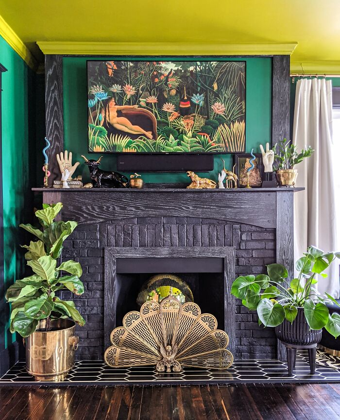 Our Fireplace Featuring My Thrifted Hand Collection And Other Vintage Tchotchkes