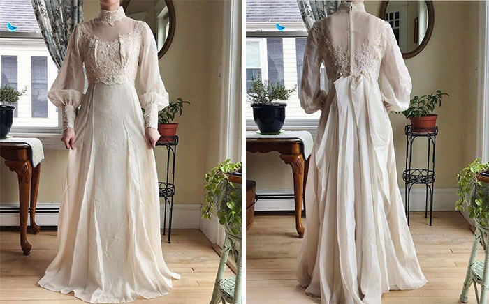 Here's My Vintage Thrifted Wedding Dress