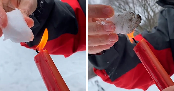 Conspiracy Theorists Claim That Snow In Texas Is Fake And They Burn It To Prove It Doesn't Melt